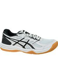 Białe buty do siatkówki Asics z cholewką, w kolorowe wzory