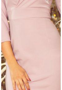 Numoco - Elegancka ołówkowa sukienka z kopertowym dekoltem. Materiał: materiał, elastan. Typ sukienki: kopertowe, ołówkowe. Styl: elegancki
