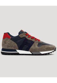 Hogan - HOGAN - Ultralekkie sneakersy H383. Kolor: szary. Materiał: tkanina. Wzór: aplikacja. Sezon: lato