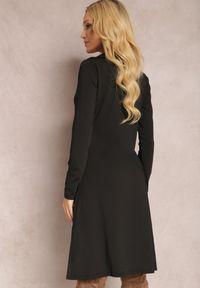 Renee - Czarna Sukienka Naesione. Okazja: na co dzień. Kolor: czarny. Materiał: dzianina. Długość rękawa: długi rękaw. Typ sukienki: proste. Styl: klasyczny, elegancki, casual. Długość: mini