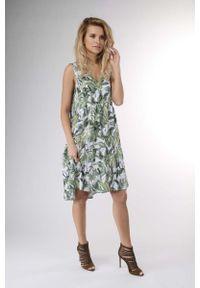 Zielona sukienka wizytowa Nommo z falbankami, na lato