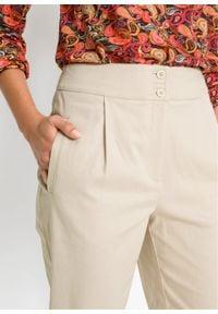 Spodnie z zakładkami poniżej talii bonprix beżowo-szary. Kolor: szary