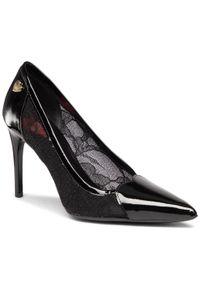 Czarne szpilki Love Moschino na szpilce, eleganckie, na średnim obcasie, z cholewką