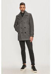 Szary płaszcz TOMMY HILFIGER klasyczny, bez kaptura, na co dzień