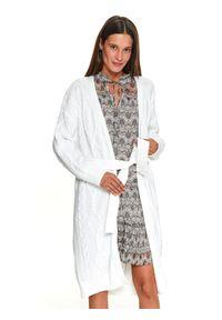 Biały sweter TOP SECRET do kolan, w kolorowe wzory, na zimę