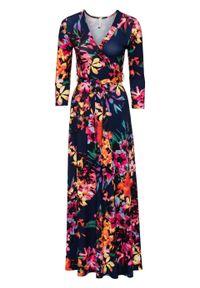 Długa sukienka w kwiaty bonprix niebiesko-jasnoróżowy w kwiaty. Kolor: niebieski. Wzór: kwiaty. Sezon: lato. Długość: maxi