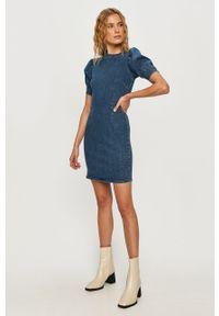 Niebieska sukienka only mini, prosta, casualowa, ze stójką