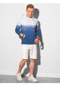 Ombre Clothing - Bluza męska z kapturem B1174 - ciemnoniebieska - XXL. Typ kołnierza: kaptur. Kolor: niebieski. Materiał: bawełna, jeans. Sezon: lato