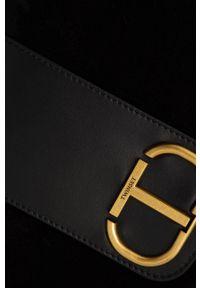 TwinSet - Twinset - Torebka zamszowa. Kolor: czarny. Dodatki: z frędzlami. Materiał: zamszowe. Rodzaj torebki: na ramię