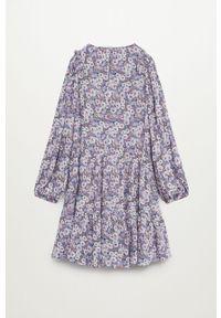 Fioletowa sukienka Mango Kids z długim rękawem, mini, rozkloszowana
