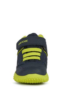 Niebieskie buty zimowe Geox na zimę, z cholewką, na rzepy