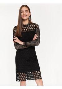 Czarna sukienka TOP SECRET z krótkim rękawem, elegancka