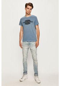 Pepe Jeans - T-shirt Devon. Okazja: na co dzień. Kolor: fioletowy. Materiał: dzianina. Wzór: nadruk. Styl: casual