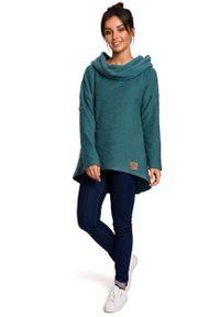 e-margeritka - Bluza damska z kapturem zielona - 2xl. Okazja: na co dzień. Typ kołnierza: kaptur. Kolor: zielony. Materiał: poliester, dzianina, materiał, bawełna. Długość: długie. Styl: casual