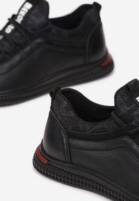 Born2be - Czarne Półbuty Aegamia. Nosek buta: okrągły. Zapięcie: sznurówki. Kolor: czarny. Szerokość cholewki: normalna. Wzór: napisy. Wysokość cholewki: przed kostkę. Materiał: skóra, materiał. Obcas: na płaskiej podeszwie. Styl: sportowy, elegancki