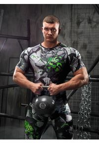 FJ! - Rashguard krótki rękaw DAVID - Green. Materiał: dzianina, materiał, elastan, skóra, poliester. Długość rękawa: krótki rękaw. Długość: krótkie. Wzór: nadruk. Sport: fitness