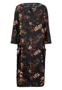 Sukienka z tkaniny bonprix czarno-brązowy mokka - biel wełny w roślinny deseń. Kolor: czarny. Materiał: tkanina, wełna