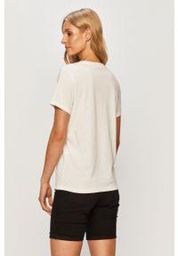 Biała bluzka only z nadrukiem, z okrągłym kołnierzem