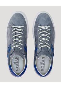Hogan - HOGAN - Szare sneakersy Rebel. Nosek buta: okrągły. Kolor: szary. Materiał: guma, zamsz. Obcas: na płaskiej podeszwie