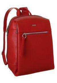 DAVID JONES - Plecak z kieszenią na tablet czerwony David Jones CM6075 RED. Kolor: czerwony. Materiał: skóra ekologiczna