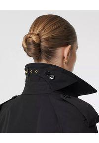 Czarny płaszcz Burberry klasyczny, z aplikacjami
