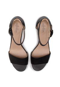 Czarne sandały Clarks na obcasie, casualowe