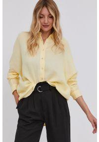 Answear Lab - Koszula bawełniana. Kolor: żółty. Materiał: bawełna. Długość rękawa: długi rękaw. Długość: długie. Wzór: gładki. Styl: wakacyjny