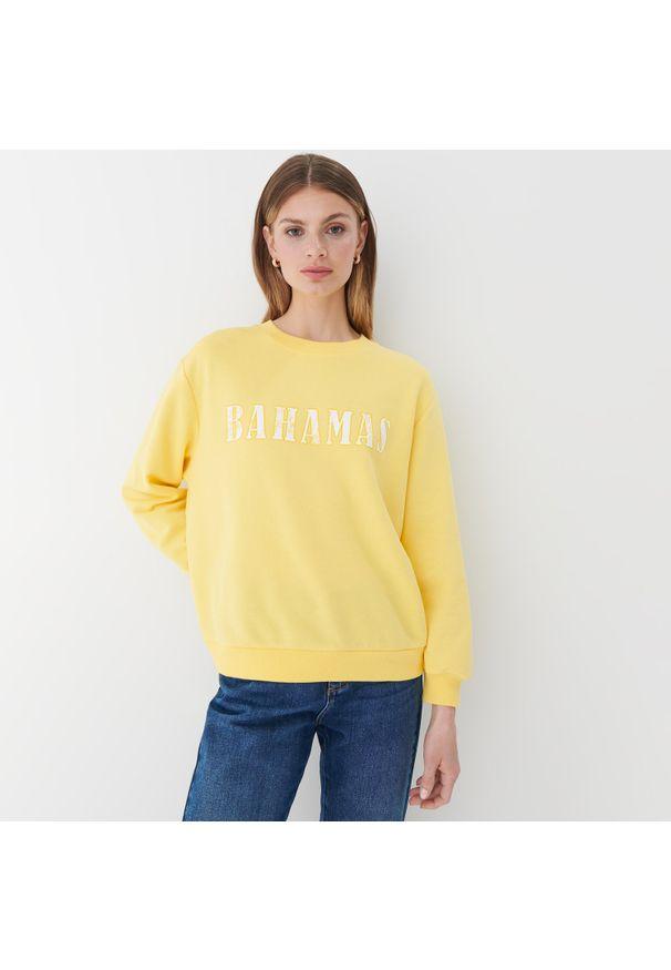 Mohito - Bluza z nadrukiem - Żółty. Kolor: żółty. Wzór: nadruk
