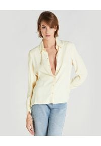 Patrizia Pepe - PATRIZIA PEPE - Żółta koszula z szerokimi mankietami. Kolor: żółty. Materiał: żakard, wiskoza, jeans
