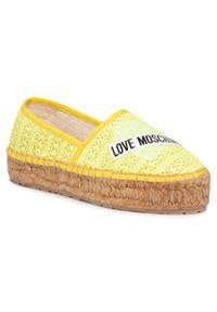 Żółte półbuty Love Moschino z cholewką, na co dzień, casualowe