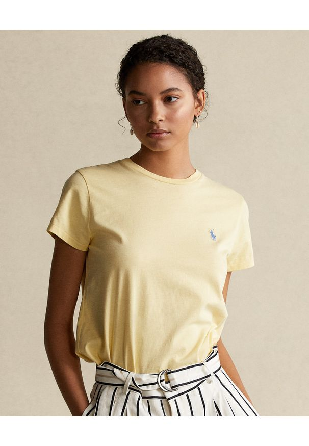 Ralph Lauren - RALPH LAUREN - Żółty t-shirt z logo. Typ kołnierza: polo. Kolor: żółty. Materiał: bawełna