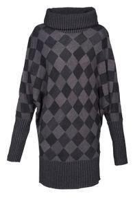 Szary sweter bonprix długi, z golfem, melanż