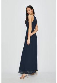 Vila - Sukienka. Kolor: niebieski. Materiał: koronka, tkanina. Typ sukienki: rozkloszowane