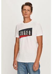 Biały t-shirt Jack & Jones z nadrukiem, z okrągłym kołnierzem, casualowy, na co dzień