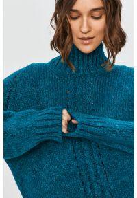 Turkusowy sweter Answear Lab z długim rękawem, wakacyjny, długi