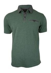 Zielona, Oliwkowa Koszulka Polo z Kieszonką - 100% BAWEŁNA - Chiao, Męska, Krótki Rękaw. Typ kołnierza: polo. Kolor: zielony, oliwkowy, wielokolorowy. Materiał: bawełna. Długość rękawa: krótki rękaw. Długość: krótkie