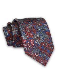 Granatowo-Pomarańczowy Męski Krawat -Chattier- 8 cm, Klasyczny, Elegancki, Wzór Kwiatowy. Kolor: niebieski. Materiał: tkanina. Wzór: kwiaty. Styl: klasyczny, elegancki