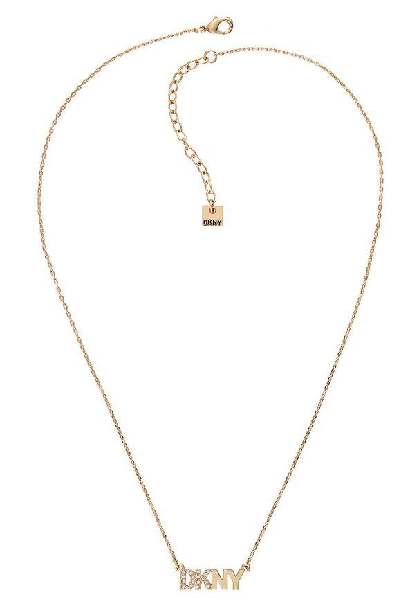Złoty naszyjnik DKNY z aplikacjami, metalowy, z kryształem
