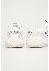 Białe buty sportowe Kappa na średnim obcasie, z cholewką