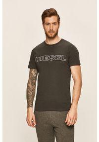 Szary t-shirt Diesel casualowy, na co dzień, z nadrukiem