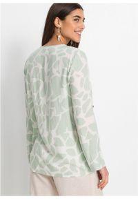 Bluzka z nadrukiem bonprix miętowy w graficzny wzór. Typ kołnierza: dekolt w serek. Kolor: zielony. Wzór: nadruk