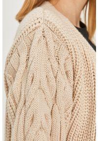 Beżowy sweter rozpinany Answear Lab z długim rękawem, długi, wakacyjny, na co dzień