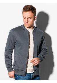 Ombre Clothing - Bluza męska rozpinana bez kaptura B1077 - grafitowa - L. Typ kołnierza: bez kaptura. Kolor: szary. Materiał: bawełna, poliester. Styl: sportowy