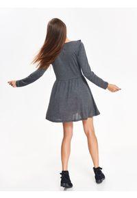TROLL - Sukienka damska z ozdobną falbaną. Kolor: szary. Materiał: tkanina. Sezon: wiosna. Typ sukienki: proste