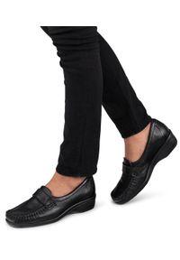 Czarne mokasyny PESCO bez zapięcia, eleganckie, w kolorowe wzory