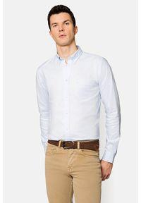 Lancerto - Koszula Błękitna Lotta. Typ kołnierza: button down. Kolor: niebieski. Materiał: bawełna, jeans, tkanina, wełna