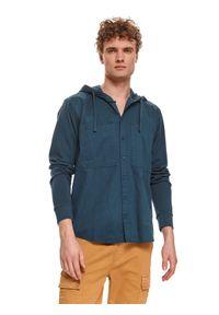 TOP SECRET - Bluza z łączonych materiałów. Kolor: niebieski. Materiał: materiał. Długość rękawa: długi rękaw. Długość: długie. Sezon: lato