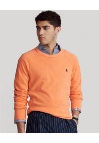 Ralph Lauren - RALPH LAUREN - Pomarańczowa bluza Spa Terry. Typ kołnierza: bez kaptura, polo. Kolor: pomarańczowy. Materiał: bawełna. Wzór: haft