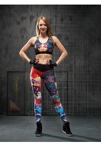 Czarne legginsy sportowe FJ! na fitness i siłownię, w kolorowe wzory