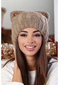 Beżowa czapka IVET elegancka, na zimę